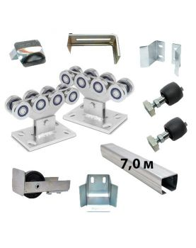 Комплект РОЛТЭК ЭКО 7 роликов и балок Ролтэк для откатных ворот до 500 кг