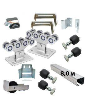 Комплект РОЛТЭК ЕВРО 8 роликов и балок Ролтэк для откатных ворот до 800 кг